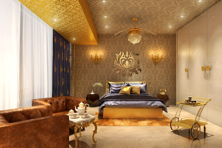 Gold Bedroom:  Bedroom by AAMRAPALI BHOGLE