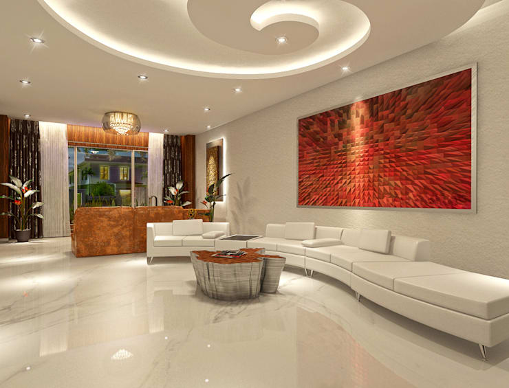 White Living Space:  Living room by AAMRAPALI BHOGLE