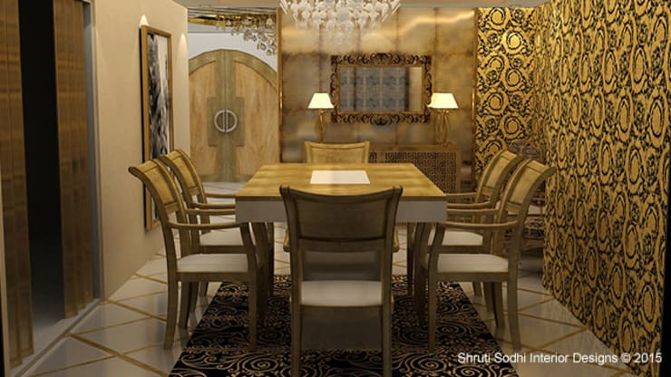 Interior Decoration:  Dining room by Shruti Sodhi Interior Designs