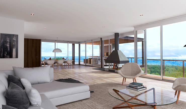 Proyecto DC - Vista Interior: Livings de estilo  por AR   arquitectos,