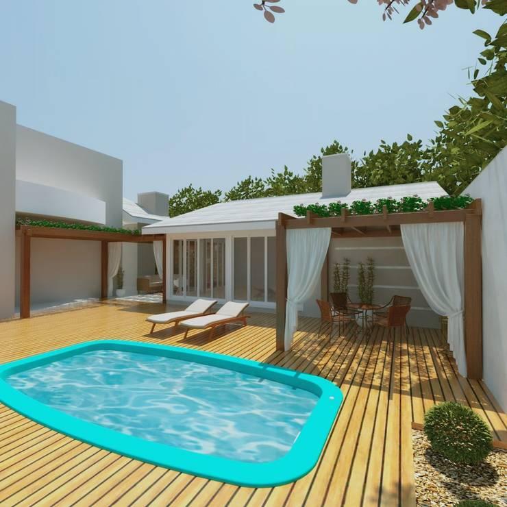 Espaço gourmet e piscina: Garagens e edículas  por Cíntia Schirmer | Estúdio de Arquitetura e Urbanismo