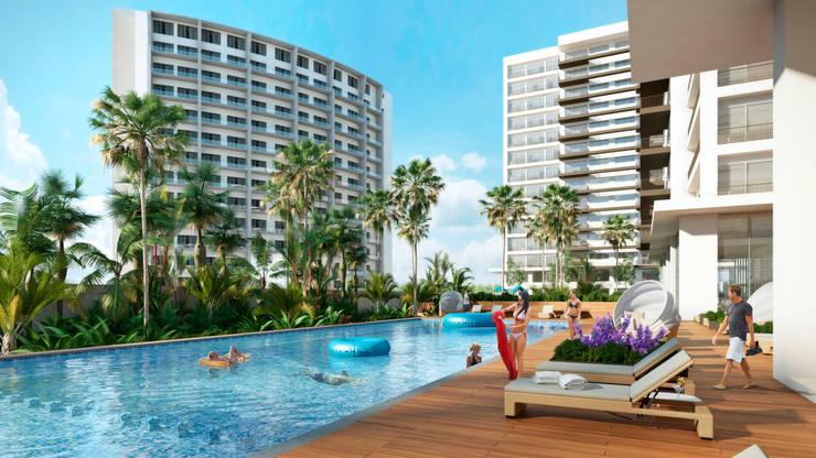 Área de Alberca y Sun Deck: Albercas de estilo  por TaAG Arquitectura
