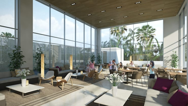 Salón de eventos: Terrazas de estilo  por TaAG Arquitectura