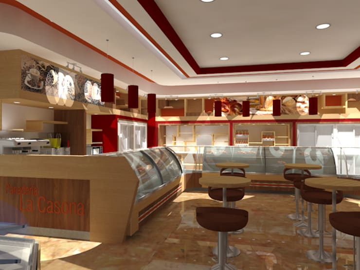Panadería Sapore y Piu. : Restaurantes de estilo  por SCABA EQUIPAMIENTO Y ARQUITECTURA COMERCIAL , C.A.