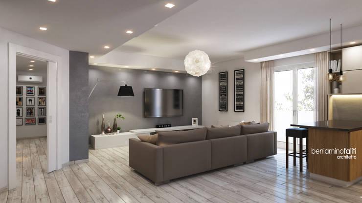 Zona living: Soggiorno in stile  di Beniamino Faliti Architetto