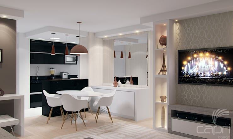 Dining room by Lúcia Vale Interiores, Classic Wood-Plastic Composite
