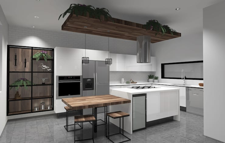 Casa Colinas Virreyes: Cocinas de estilo moderno por GHT EcoArquitectos