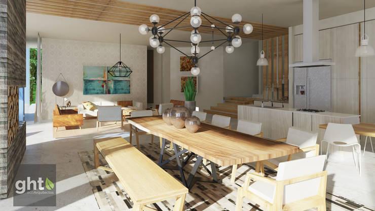 Interiorismo Casa Cañadas: Comedores de estilo  por GHT EcoArquitectos, Moderno