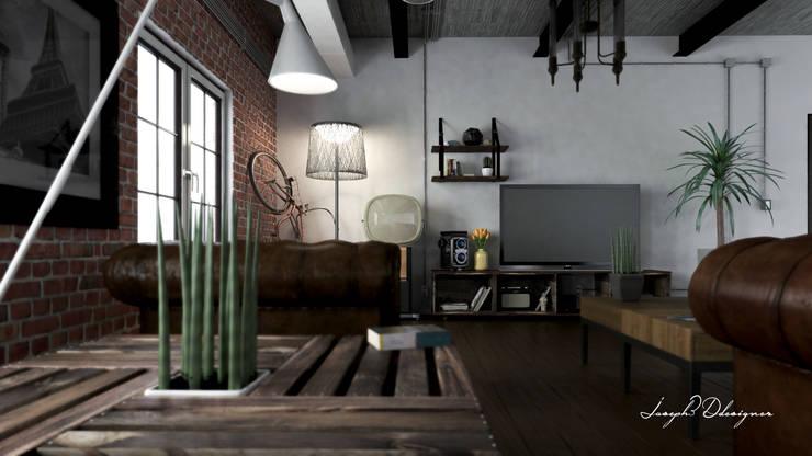 Visualización 3D Sala de Tv :  de estilo industrial por Iluminature, Industrial