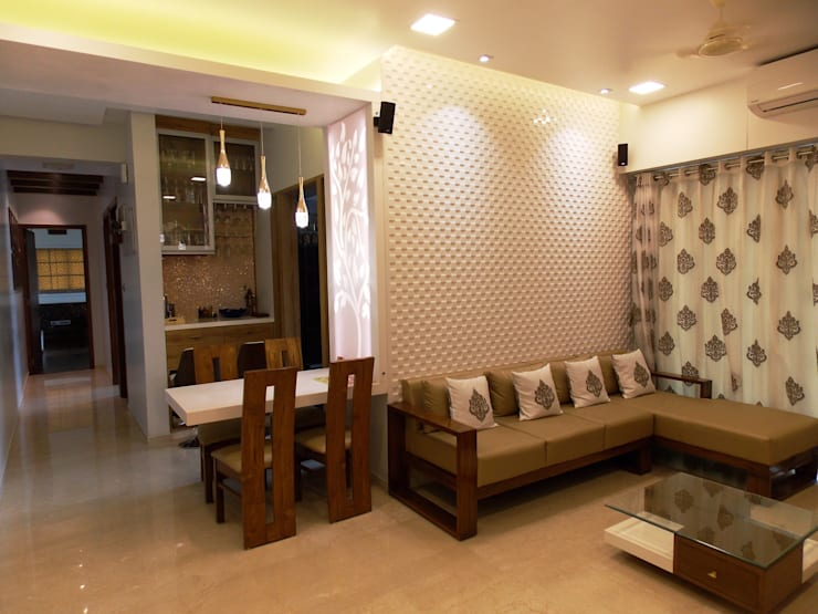 LIVING & DINING:  Dining room by J SQUARE - Architectural Studio