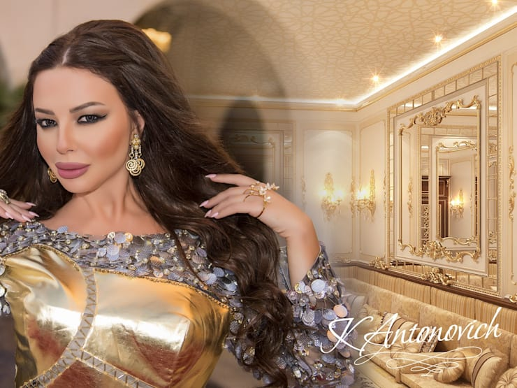 Houses Design in the classical style of Katrina Antonovich:  Living room by Luxury Antonovich Design