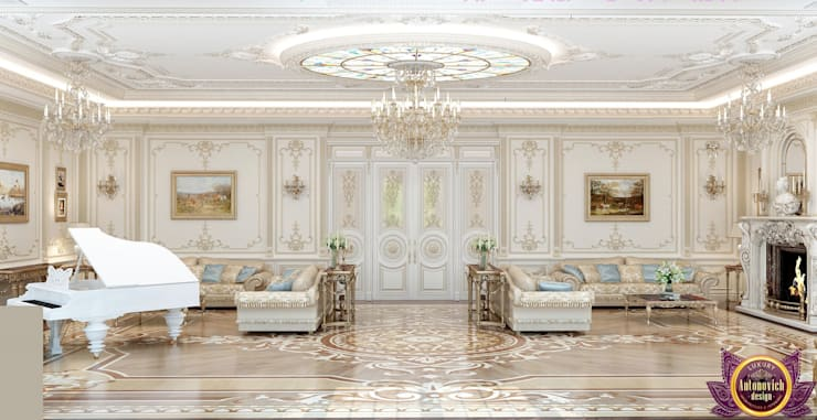 Houses Design in the classical style of Katrina Antonovich:  Living room by Luxury Antonovich Design, Classic