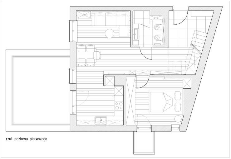 Rzut pierwszego poziomu: styl , w kategorii Salon zaprojektowany przez Saje Architekci Joanna Morkowska-Saj