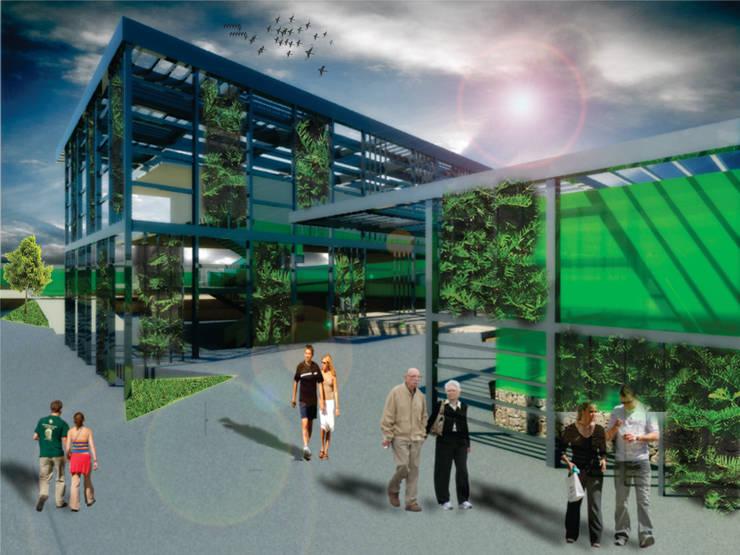 Centro de Embajadas Nacionales [Cd. Juarez, Chih]:  de estilo industrial por 3C Arquitectos S.A. de C.V., Industrial