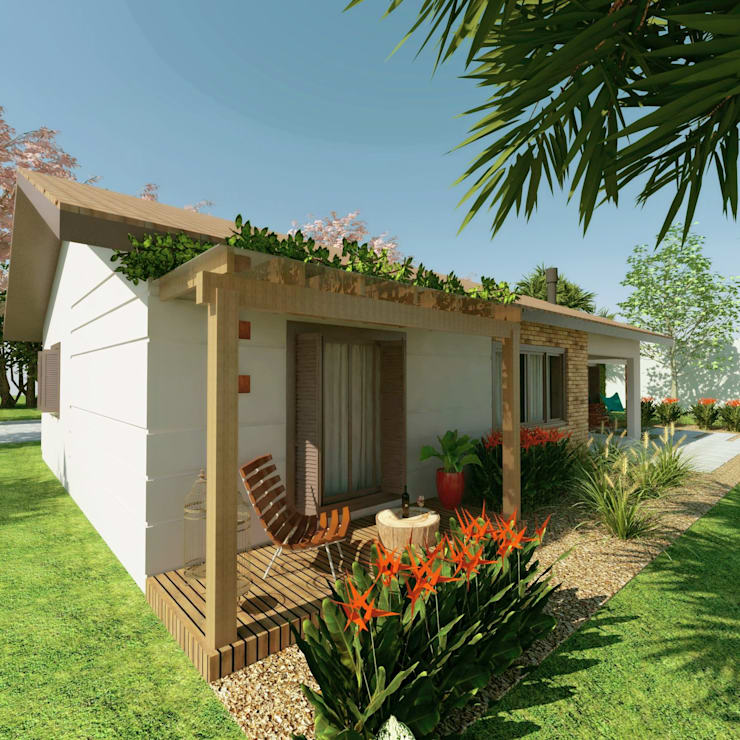 Projekty, rustykalne Domy zaprojektowane przez Cíntia Schirmer | Estúdio de Arquitetura e Urbanismo
