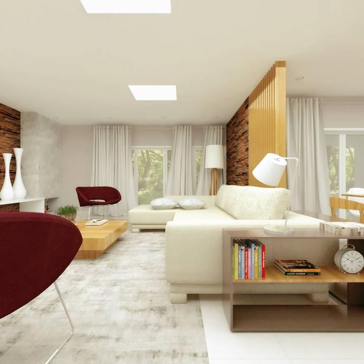 Salas de estilo moderno por Cíntia Schirmer   Estúdio de Arquitetura e Urbanismo