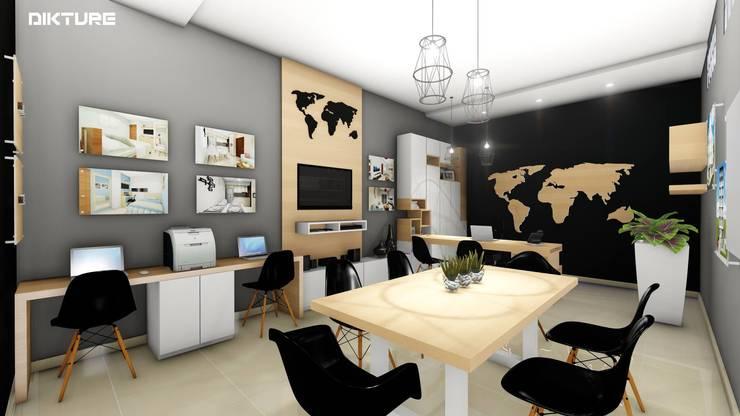 Diseño interior y Mobiliario.: Oficinas y Tiendas de estilo  por DIKTURE Arquitectura + Diseño Interior