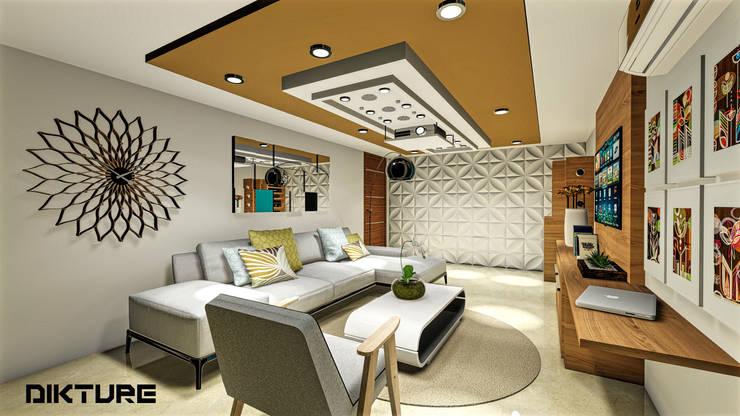 Centro de entretenimiento: Salas multimedia de estilo  por DIKTURE Arquitectura + Diseño Interior