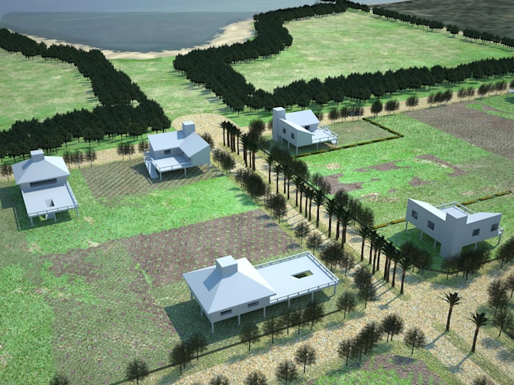 Loteo en Rincon Norte: Jardines de estilo  por Estudio Marcos Fernandez,