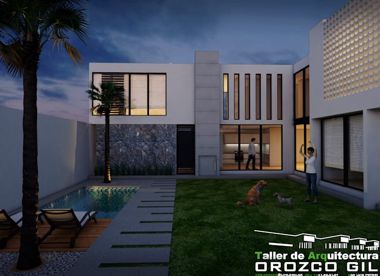 CASA AL-RFT: Casas de estilo  por OROZCO GIL TALLER DE ARQUITECTURA, Minimalista