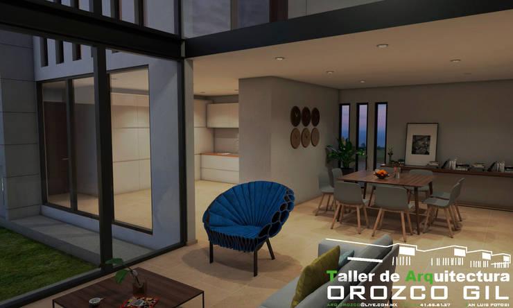 CASA AL-RFT: Salas de estilo  por OROZCO GIL TALLER DE ARQUITECTURA, Minimalista