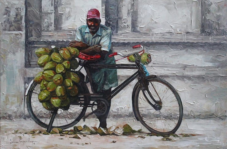 Coconut Seller: modern  by Indian Art Ideas,Modern Cotton Red