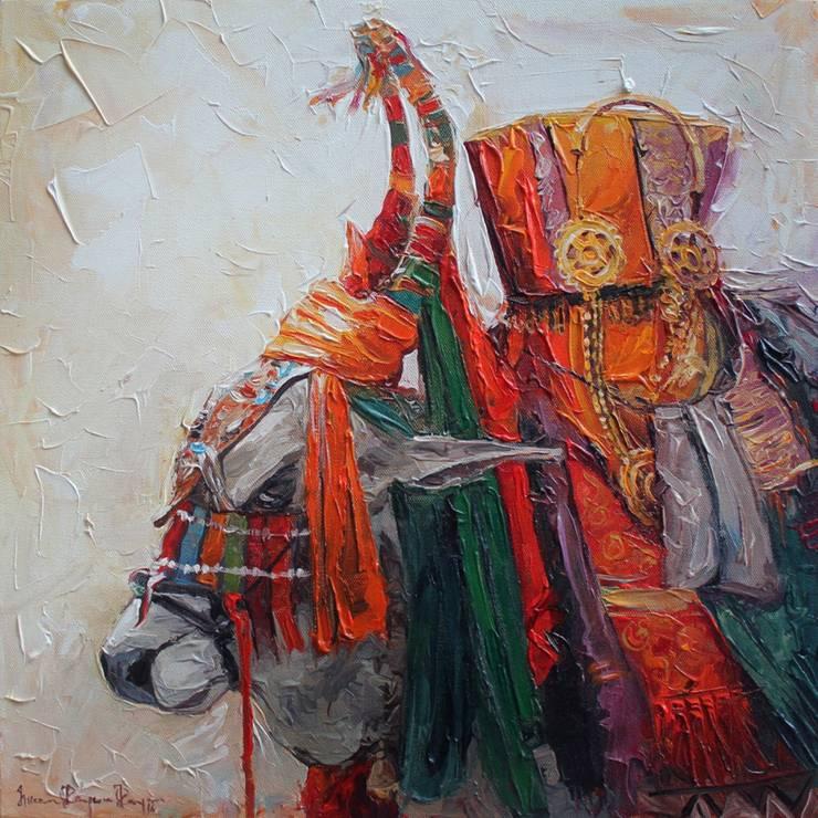 Gangireddu-1: modern  by Indian Art Ideas,Modern Cotton Red