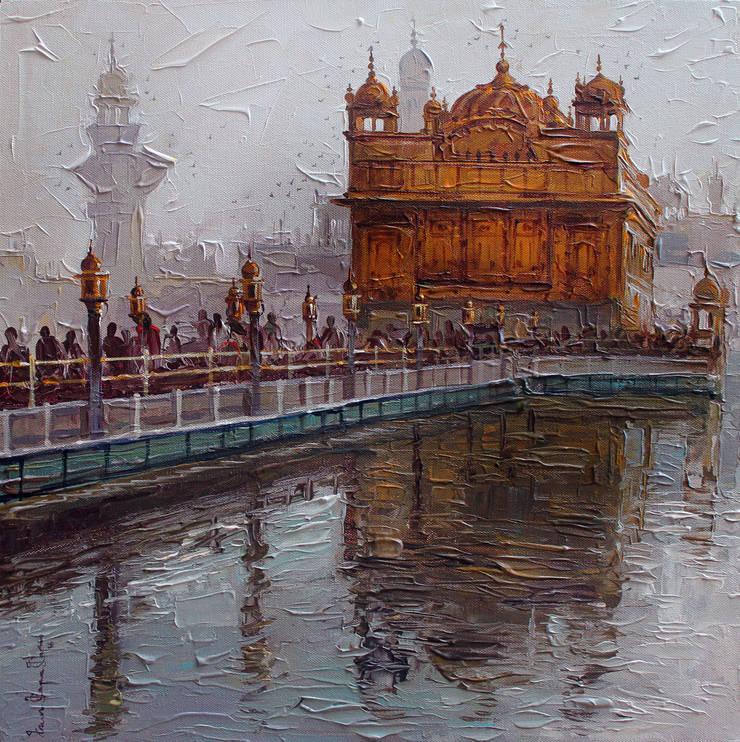 Golden temple: modern  by Indian Art Ideas,Modern Cotton Red