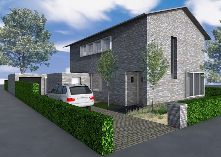 Particulier zelfbouw woonhuis :  Huizen door Dick van Aken Architectuur, Modern Steen