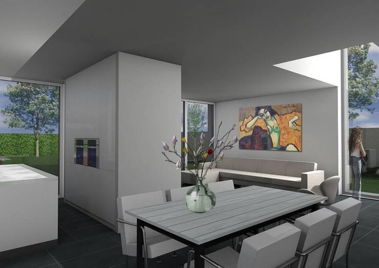 Particulier zelfbouw woonhuis :  Woonkamer door Dick van Aken Architectuur, Modern Steen