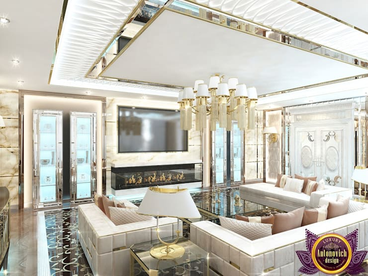 Modern living room interior of Katrina Antonovich 2:  Living room by Luxury Antonovich Design