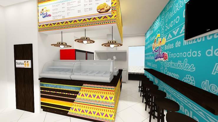 diseño restaurante:  de estilo  por Dies diseño de espacios