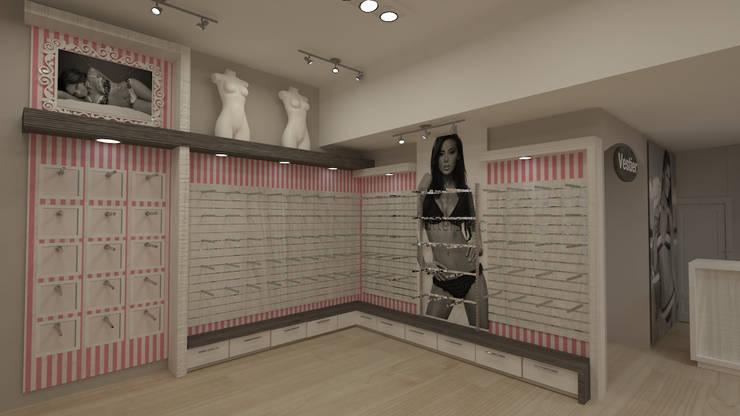 Tienda ropa interior: Oficinas y Tiendas de estilo  por Dies diseño de espacios