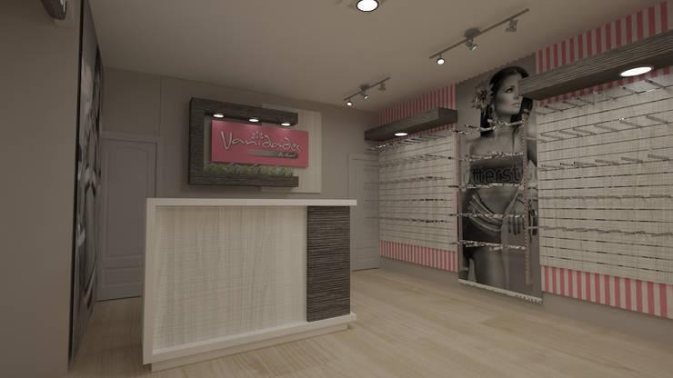 diseño de tienda ropa imterior: Oficinas y Tiendas de estilo  por Dies diseño de espacios