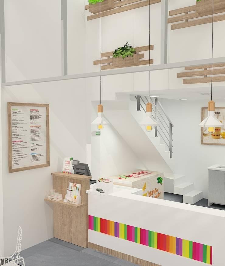 Diseño punto de venta Cosechas Express: Oficinas y tiendas de estilo  por Dies diseño de espacios