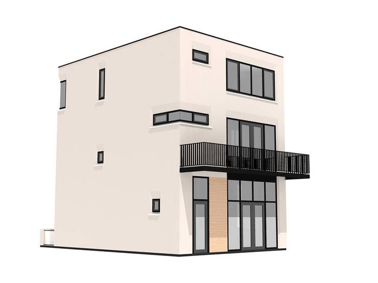Impressie achter:  Huizen door 10voor2 Architecten, Modern