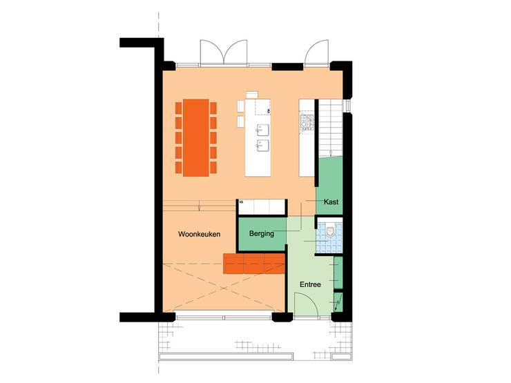 Plattegrond begane grond:  Huizen door 10voor2 Architecten, Modern