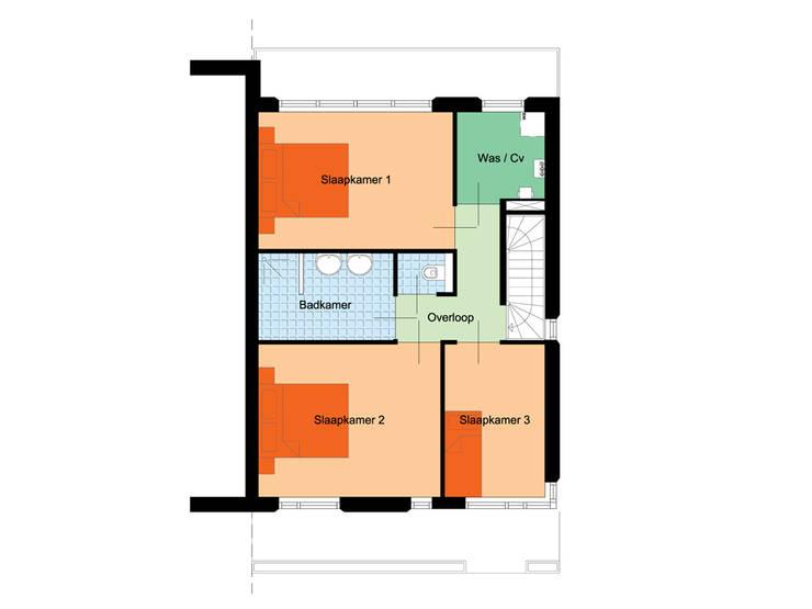 Plattegrond 1e verdieping:  Huizen door 10voor2 Architecten, Modern