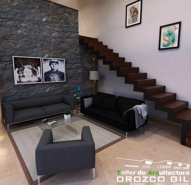 Salas / recibidores de estilo  por OROZCO GIL TALLER DE ARQUITECTURA