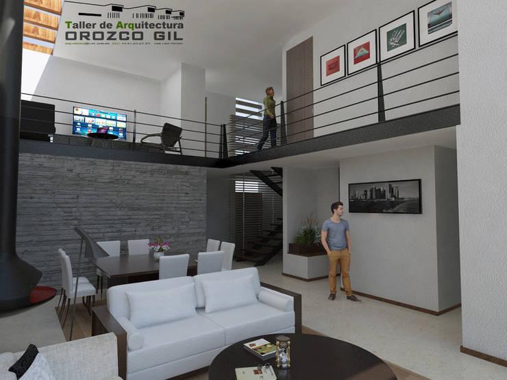 CASA LOPEZ-CADENA: Salas de estilo  por OROZCO GIL TALLER DE ARQUITECTURA, Minimalista