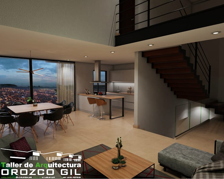 CASA MONTERRA 3: Salas de estilo  por OROZCO GIL TALLER DE ARQUITECTURA, Minimalista