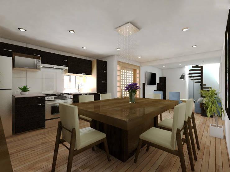 Cocina Comedor: Comedores de estilo  por Arqternativa, Moderno Madera Acabado en madera