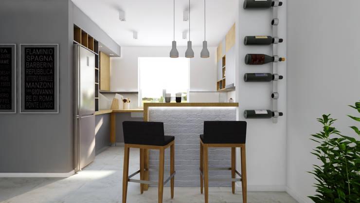 szara z drewnen: styl , w kategorii Kuchnia zaprojektowany przez INTUS DeSiGn,