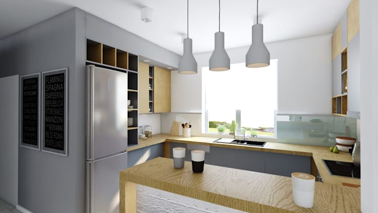 szara z drewnem: styl , w kategorii Kuchnia zaprojektowany przez INTUS DeSiGn,