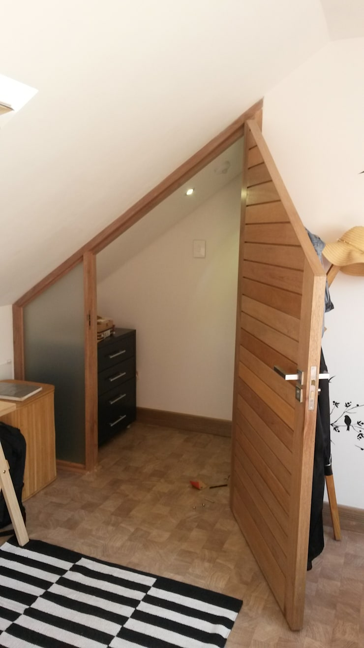 Loft room , staircase and Velux roof windows:  Bedroom by Loftspace, Modern