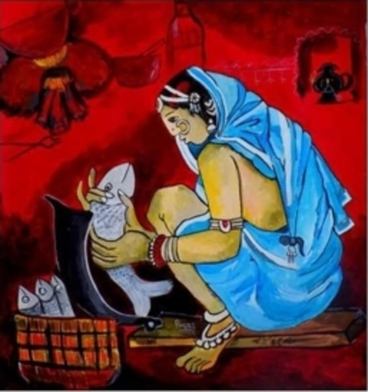 A lady at work:  Artwork by Indian Art Ideas