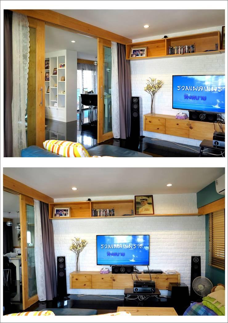 งานรีโนเวทบ้านพักอาศัย2ชั้น concept แนวอบอุ่น ใช้เฟอร์นิเจอลอยตัวของเดิมมาจัดวาง :   by บ.สถาปนิก88 มุกดาหาร จำกัด