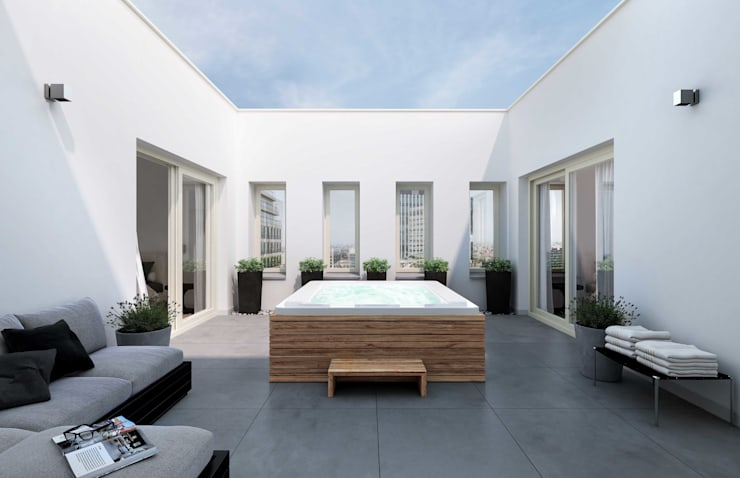 INTERMEZZO APARTMENTS: Terrazas de estilo  por Lucy Attwood Interior Design + Architecture