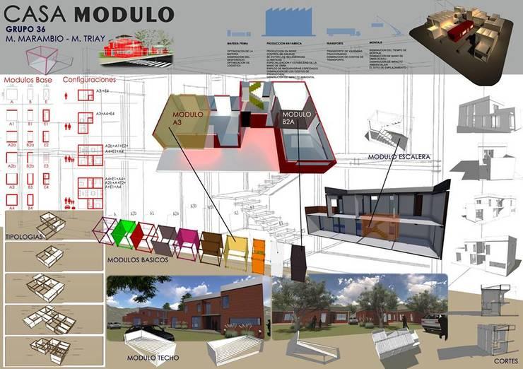 UNIDAD VIVIENDA MODULAR - PREINDUSTRIALIZADA: Casas de estilo  por AUREA Estudio de Diseño,Industrial