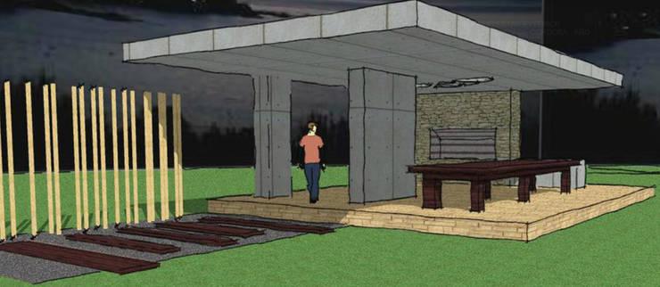 PROYECTO PARA QUINCHO (Espacio Semi-Cubierto Exterior): Terrazas de estilo  por AUREA Estudio de Diseño,